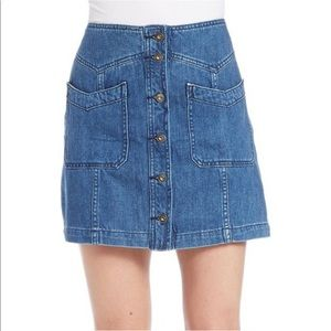 Free People Denim Button Down Skirt